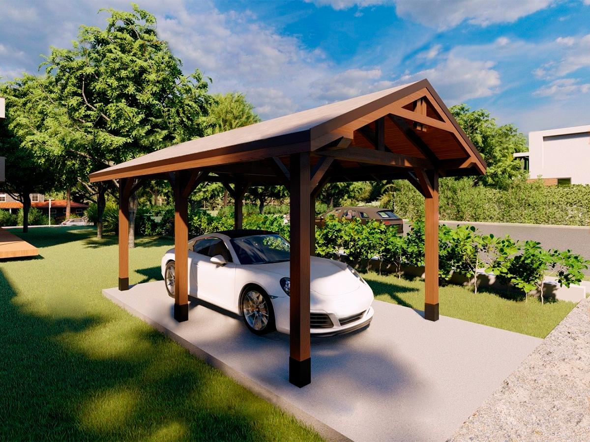 Деревянный навес для одного автомобиля